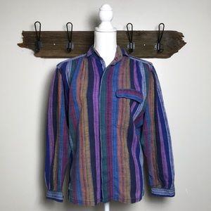 Vintage Stripe Button Down Top Shirt '70's '80's